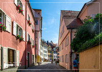 Picture of a narrow alley in the city of Lindau at the Lake Constance or Bodensee in southern Germany
