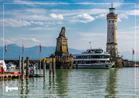 Port entrance of the harbour in the city of Lindau at the Lake Constance or Bodensee in southern Germany